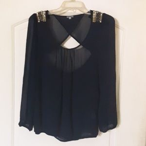 Charlotte Russe sheer long sleeved blouse